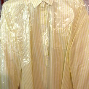 Blouse-yellow and white striped J Crew top